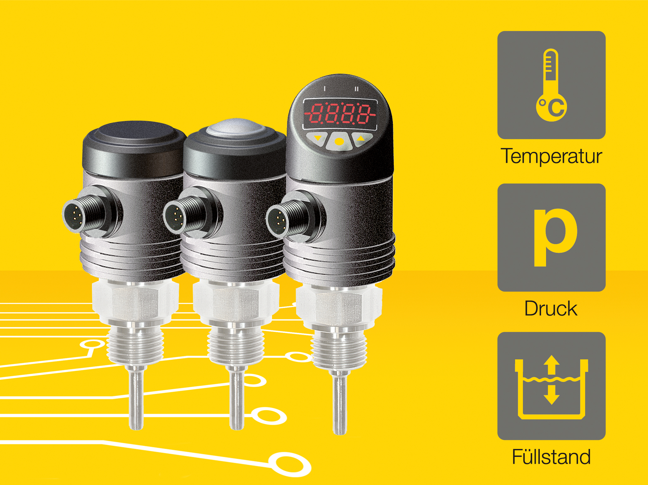 Hesch bietet die Sensor-Baureihe zum Start in drei verschiedenen Varianten an. Sie alle lassen sich für die Messung von Temperatur, Druck und Füllständen verwenden